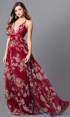 Shop floral-print long prom dresses at Simply Dresses. Long v-neck formal dresses under $200 with spaghetti straps, open backs and empire waists.