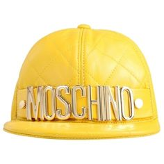 Pre-owned Moschino Baseball Hat ($495) ❤ liked on Polyvore featuring accessories, hats, yellow, baseball caps, leather baseball cap, ball cap, yellow hat and leather ball cap
