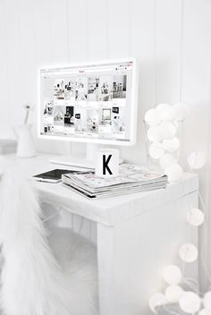 All white workspace Daily Dream Decor