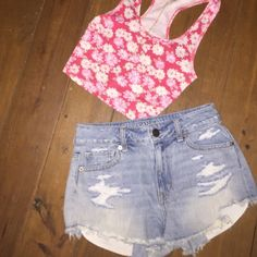 High Waisted Distressed Short Jean Shorts Adorable, tight fitting, short light washed jean shorts from American Eagle.  Very hard for me to part with these but they are too small for me now.  These jeans are adorable and perfect for spring/summer time that is just around the corner. American Eagle Outfitters Shorts Jean Shorts