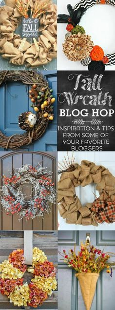 Fall Wreath Blog Hop - beautiful wreaths + inspiration from some of your favorite bloggers!  Brand new wreaths for 2014!