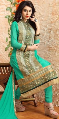 Sizzling Green Georgette Straight Salwar Suit With Chiffon Dupatta.
