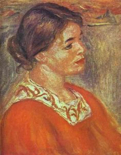 Woman in a Red Blouse - Pierre-Auguste Renoir