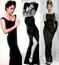 Famous Black Evening Gowns.   Elizabeth Taylor, Rita Hayworth and Audrey Hepburn prove that classic black evening gowns are anything but boring!