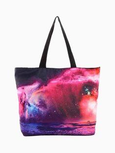 New printing Galaxy Star shoulder bag women handbag shopping bag with zipper environmental protection womens New Handbags, Tote Handbags, Tote Purse, Clutch Bag, White Tote Bag, Galaxy Print, Reusable Shopping Bags, Tote Pattern, Pattern Print