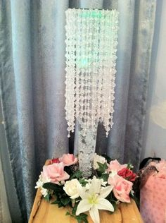 diy crystal vases trumpet vases, crystal garland led lights,grid from a closet unit. Chandelier Centerpiece, Party Centerpieces, Centerpiece Wedding, Diy Chandelier, Crystal Garland, Crystal Vase, Wedding Shower Decorations, Diy Party Decorations, Do It Yourself Wedding