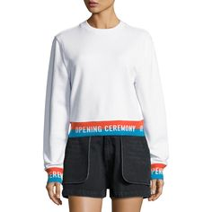 Opening Ceremony Crewneck Jersey Elastic-Logo Pullover Sweatshirt (¥17,100) ❤ liked on Polyvore featuring tops, hoodies, sweatshirts, white, white pullover, white crew neck sweatshirt, cotton sweatshirts, jersey sweatshirt and cotton jersey