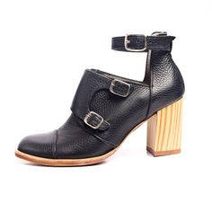 black leather wooden high heels with buckle straps  - FREE SHIPPING