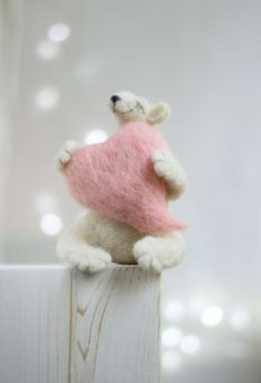 Needle Felt Bear Christmas Decoration Dreamy by FeltArtByMariana