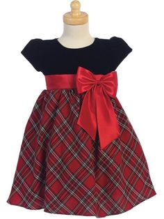 Red Plaid and Velvet Christmas Dress  Best Dressed Tot Baby Girl Skirts d2b993abb