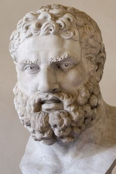Hercules (Heracles), head, Roman statue (marble), copy of Lysippos' statue, 1st century AD (original 4th c. BC), (Palazzo Altemps, Rome).