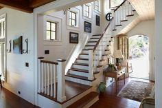 PRITCHETT + DIXON Residential Design ~ beautiful staircase, dark treads white risers, walls