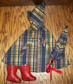 1930s Era Plaid Rain Cape~Umbrella~Red Rain Boots~Factory For Compo from momos on Ruby Lane