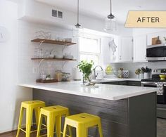 Ways to Add Personal Style to Your Kitchen Makeover 10 Creative Ideas to Add Personal Style to Your Kitchen. Yellow and grey kitchen Creative Ideas to Add Personal Style to Your Kitchen. Yellow and grey kitchen makeover Joy Kitchen, Kitchen Redo, Kitchen Dining, Kitchen Ideas, Ikea Kitchen, Ranch Kitchen, Narrow Kitchen, Kitchen Corner, Kitchen Stools