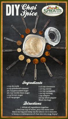 Chai - Packed full of fall spices! Tea Recipes, Cooking Recipes, Recipies, Chai Tea Recipe, Chai Spice Mix Recipe, Smoothies, Comida India, Tea Latte, Spice Mixes