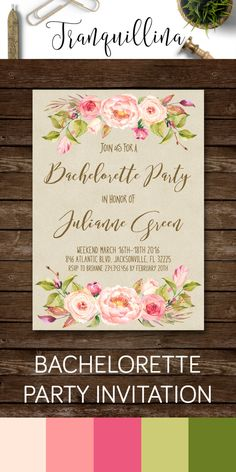 Bachelorette Invitation Printable, Floral Bachelorette Party Invitation, Printable Bachelorette Invitation, Peony Bachelorette Invite - pinned by pin4etsy.com