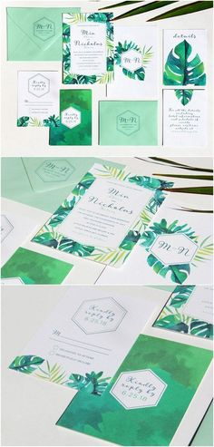 Tropical Green Wedding Invitation / http://www.deerpearlflowers.com/29-watercolor-wedding-invitations/