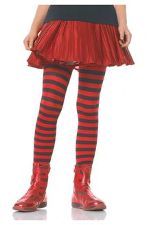 Girls Black And Red Striped Tights by Leg Avenue Striped Tights, Black Tights, Fairy Clothes, Stocking Tights, Leg Avenue, Cute Skirts, Halloween Costumes For Kids, Whoville Costumes, Costume Accessories