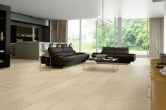 Our Purstone Lisburn Linen tile floor in Basket Beige complements dark furniture and accents to give your home a cool and contemporary vibe. Luxury Vinyl Flooring, Luxury Vinyl Tile, Dark Furniture, Leather Furniture, Flooring Store, Kitchen Flooring, Armstrong Flooring, Flooring Options, Black Decor