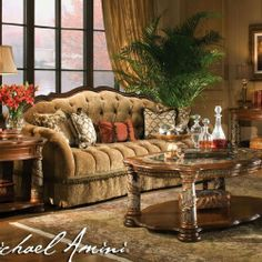 AICO Living Room Set Villa Valencia AI-728 by AICO. $4608.00. The look and feel of Old World Spain have been beautifully captured in this grand collection, designed exclusively for the Michael Amini® Original Furniture Designs. Beautifully crafted from Birch solids with Cherry, Pecan, and Elm Burl veneers, the distinctive marquetry and intricate embellishments compliment a classic chestnut finish. Villa Valencia® draws its inspirations from the city of Valencia, in Spa...