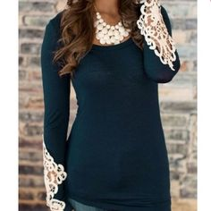 🎉HP🎉Stylish Long Sleeve Lace Embellished T-Shirt New - Retail!!!! Available in 1 deep blue, 2 mint, 1 peach. In XL (12-14) size, please comment below if you're interested. Thank you! Tops Tees - Long Sleeve