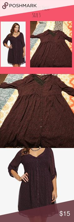 Torrid Size 3 Shirt Dress Torrid Size 3 Sheer Shirt Dress with light slip.  Very comfortable. Excellent condition. torrid Dresses Midi