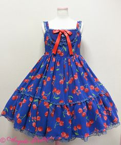 Angelic Pretty: 2015 Drained Cherry Tiered JSK in blue