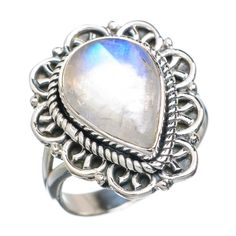 Rainbow Moonstone 925 Sterling Silver Ring Size 7.5 RING731943