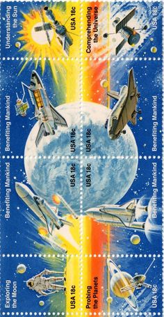 Space Achievement stamps issued 21 May 1981.  Scott Catalog 1912 to 1919.