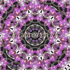Mandala Kaleidoskop ''Küchenschelle 02''  Kreatives by Petra #mandala 'kaleidoskop #spiegelung #reflektion #reflection #innereruhe #inspiration #küchenschelle #kuhschelle #lila #violett #purple #blumen #flowers #blüten #blossom #frühling #spring #sommer #summer #home #deko #dekoration #plakat #poster #leinwand #canvas Petra, Floral Wreath, Wreaths, Inspiration, Decor, Mandalas, Lilac, Home Decoration, Mosaics