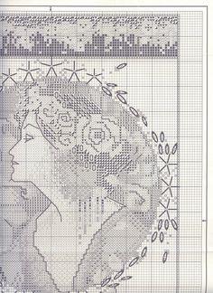 Borduurpatroon Kruissteek Vrouw *Cross Stitch Pattern Woman ~Lady English Rose 2/6~