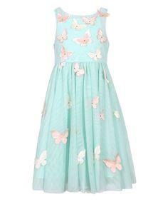 Another great find on #zulily! Seafoam Butterfly Mesh Princess Dress - Toddler & Girls #zulilyfinds