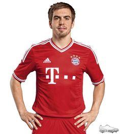 Phillip Lahm models the Bayern Munich Home shirt 2013-14 Football Shirts ba36db4d2