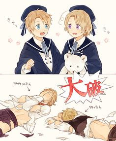 Hetalia ~ America, Canada, France and England