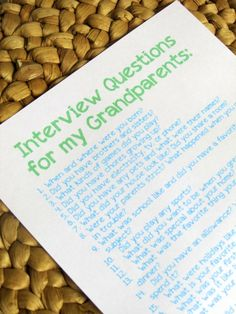 Beautiful story!! Must read!! Great idea for Grandparents' Day or a wonderful project to do any day for kids (and parents) to share with their grandparents.                                                   Grandparent Interview Questions | Do your children know the life stories of their grandparents? Let this printable and post encourage you to...
