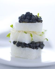 White polenta and caviar tower, Carlo Cracco's New Year's Eve dinner, Milan #plating #presentation