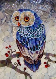 "Mosaic ""The blue owl"" Owl Mosaic, Mosaic Birds, Mosaic Wall, Mosaic Glass, Paper Mosaic, Mosaic Mirrors, Fused Glass, Stained Glass Patterns, Mosaic Patterns"