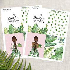 Tropical Leaves - Mini Planner sticker kit sheets) - for Happy Planner and Erin Condren Tropical Leaves, Tropical Plants, Life Planner, Happy Planner, Permanent Marker, Gel Pens, Erin Condren, Sharpie, Planner Stickers