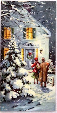 Walking home--visiting, family! Christmas Tree Scent, Magical Christmas, Christmas Scenes, Christmas Pictures, Winter Christmas, Christmas Home, Christmas Ideas, Xmas, Vintage Christmas Cards