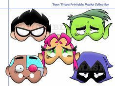 We Offer You: Special and Unique Happiness!  We guarantee that you, and your family when buying our Unique Teen Titans Printable Masks Collection which Printable Masks, Printables, Kids Photo Props, Superhero Kids, Star Wars Birthday, 4th Birthday, Kids Dress Up, Paper Mask, Teen Titans Go