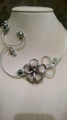 Wedding jewelry  Statement necklace Alu wire by LesBijouxLibellule