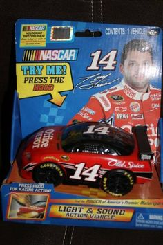 """Nascar Tony Stewart #14 Office Depot Light & Sound Action Vehicle by Nascar. $5.97. Not Suitable for Children Under 3 Years Old. Press DOORS for Racing Sounds!. 8"""" Light & Sound Action Vehicle. Press HOOD for Racing Action!. Official Licensed Product by NASCAR. Battery Operated (batteries not included) NASCAR #14 Tony Stewart (Office Depot), Light and Sounds Action Vehicle. Press on HOOD and Watch it go, Racing Sounds when Press on either side of Door. Bonus: NASCAR Hologra..."""
