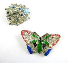 Pair of Art Deco Enamel Rhinestone Bug Pins | eBay