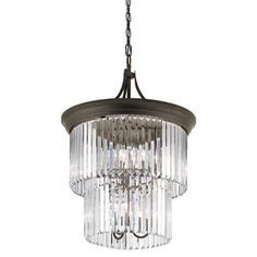 Kichler Emile 9 Light 23.25  Wide Chandelier with Cascading Glass Shade - Olde Bronze