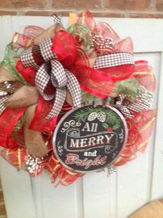 MERRY AND BRIGHT wreath on red stripe deco mesh wreath , Christmas wreath, Christmas ornament, Holiday Wreath, Winter wreath by TheLemonadeBoutique on Etsy