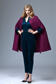 The PLAKINGER AW 13-14 raspberry wool cape will elegantly and comfortably keep you warm throughout the winter season. It is made from a thick double face wool. Style your PLAKINGER velvet jumpsuit with this dramatic coverup.