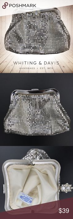 Whiting & Davis Vintage Mesh Clutch / Evening Bag This gorgeous vintage silvertone mesh evening bag by Whiting & Davis is in excellent shape - the metal is bright, the fabric is clean, and the crystals are clear - not yellowing in the least. This would make the perfect little clutch for any of your New Year's Eve festivities! Whiting & Davis Bags Clutches & Wristlets