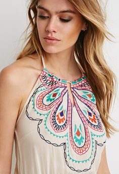 Embroidered Halter Maxi Dress | Forever 21