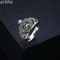 Encontre mais Anéis Informações sobre Utopia marca 2015 Retro do Vintage anel Anels para mulheres único Bohemia Crown anéis de prata antigo banhado partido jóias #WN99020, de alta qualidade Anéis de Utopia -- Italina Rigant Mall em Aliexpress.com