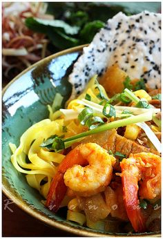 Vietnamese Tumeric Noodles From Quang Nam (Mi Quang) - Really want to try and make this. No way it will be as good what I get at my favorite place in H-town, but I'll try!